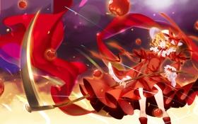 Картинка девушка, оружие, яблоки, аниме, арт, коса, фрукты