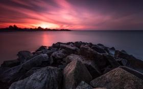Обои закат, камни, берег, небо, облака, море