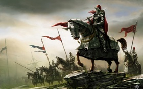 Обои оружие, кони, армия, войны, арт, всадники, знамя