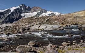 Картинка снег, горы, природа, река, камни, скалы, высота