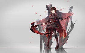 Картинка девушка, оружие, аниме, арт, капюшон, коса, red flowers