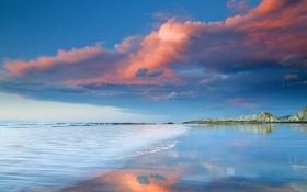 Обои море, пляж, небо, облака, скалы