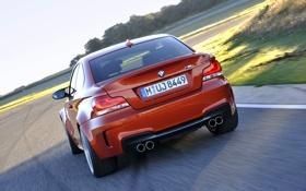 Картинка Авто, Дорога, BMW, Оранжевый, Номер, 1 series, В движении