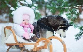 Картинка trees, winter, snow, child, childhood, kid, kids