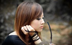 Картинка девушка, перо, японка, азиатка