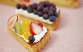 Картинка фон, обои, еда, киви, клубника, пирог, пирожное