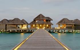 Обои тропики, океан, пристань, ресторан, хижина, экзотика, бунгало
