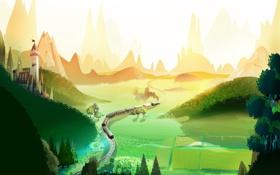 Картинка холмы, поезд, долина, нарисованный пейзаж