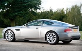 Обои фон, Aston Martin, серебристый, суперкар, вид сзади, кусты, V12