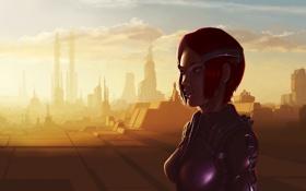 Обои девушка, фантастика, пустыня, арт, костюм, рыжая