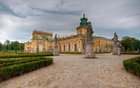 Картинка небо, облака, парк, Польша, Варшава, скульптура, Wilanow Palac