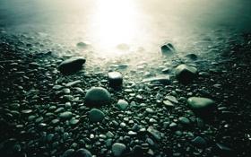 Обои камни, галька, свет, туман