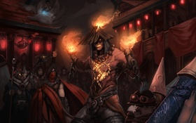 Обои пламя, здания, мужчина, фонарики, league of legends