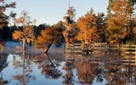 Картинка осень, пейзаж, мост, озеро