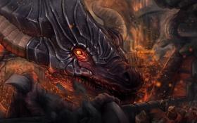 Обои огонь, город, армия, рога, арт, взгляд, дракон