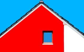 Обои цвет, форма, Red house