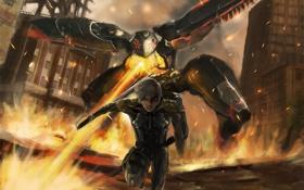Картинка город, оружие, огонь, робот, меч, арт, бег