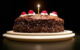 Обои еда, шоколад, торт, свечка, сладкое