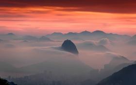 Картинка горы, туман, сумерки, Бразилия, Рио-де-Жанейро, Сахарная Голова