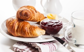 Обои завтрак, сливки, cup, джем, круассаны, croissant, breakfast