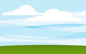 Обои небо, трава, облака, минимализм, арт