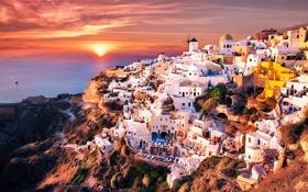 Обои море, закат, гора, дома, Greece, Oia Santorini