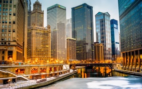 Обои ночь, город, огни, река, небоскребы, Чикаго, Иллиноис