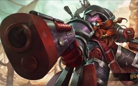 Картинка пистолет, герой, ствол, шлем, пушка, броня, борода