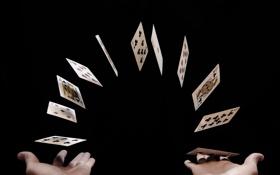 Обои карты, фокус, руки
