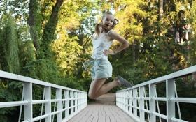 Картинка радость, мост, природа, прыжок, Milena D
