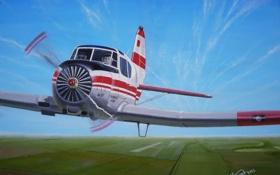 Обои советский/российский, самолёт, небо, учебно-тренировочный, Як-18Т, художник С.Коновалов, холст