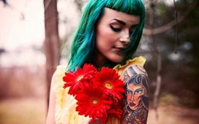 Картинка Kara McGnarley, тату, цветы