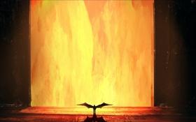 Обои огонь, крылья, дверь, демон, арт