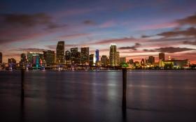 Обои ночь, мост, огни, Майами, Флорида, Miami, florida