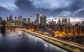 Обои City, Skyline, New-York, River, Ligth, Nigth, Scape