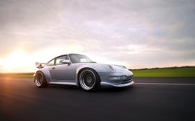 Обои солнце, скорость, 911, Porsche, серебристый, порше, блик