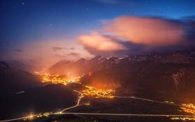Обои город, дороги, гора, Switzerland, St. Moritz