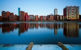 Обои город, дома, Бостон, река, утро