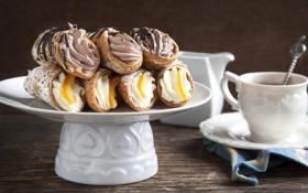 Обои кофе, шоколад, чашка, сладости, крем, десерт, пирожные