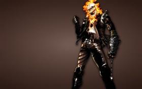 Обои темный фон, огонь, череп, цепь, скелет, Ghost Rider, Призрачный гонщик