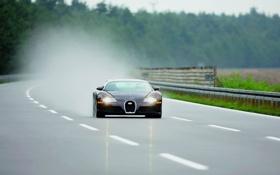Картинка дорога, фары, скорость, veyron, bugatti