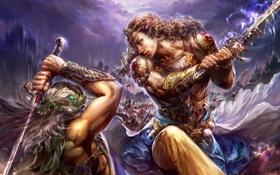 Картинка оружие, доспехи, битва, мечи, MMORPG, Perfect world, Forsaken world