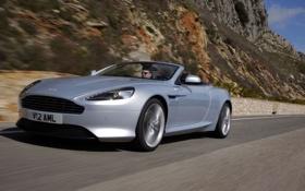 Картинка купе, V12 AML, пейзаж, дорога, Aston Martin, горы, кабриолет