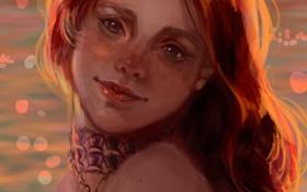 Картинка море, девушка, закат, лицо, улыбка, волосы, рыжая