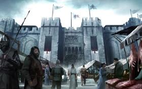 Обои люди, замок, Assassins creed, крестоносец