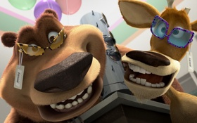 Обои улыбка, мультфильм, очки, друзья, сезон охоты