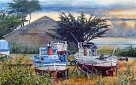 Обои море, деревья, берег, яхты, акварель, Bill Hudson