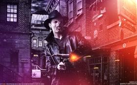 Обои пистолет, фантастика, злость, шляпа, выстрел, ящер, квартал