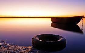 Картинка небо, вода, лодка, колесо