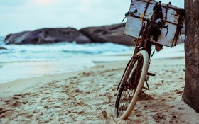 Обои Beach, Wallpaper, Bike, Sand, Background, Bicycle, Ocean